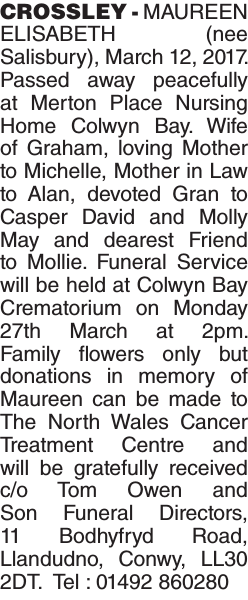 Obituary notice for CROSSLEY