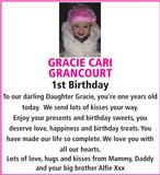 Birthday notice for GRACIE CARI