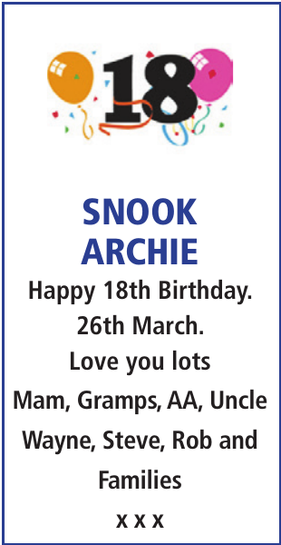 Birthday notice for SNOOK ARCHIE