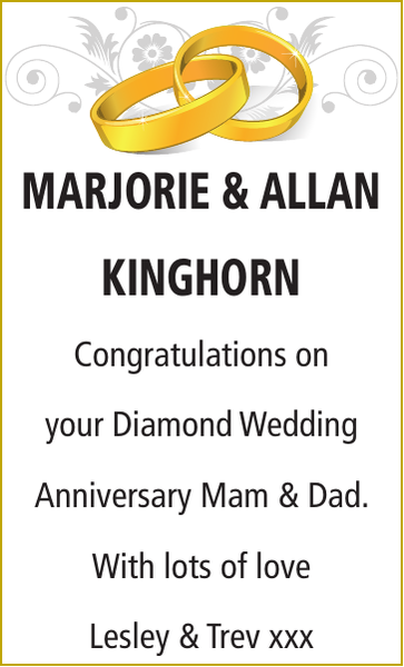 Anniversary notice for MARJORIE