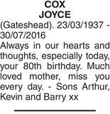 Birthday memorial notice for COX JOYCE