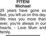 Memorial notice for FITENI Michael