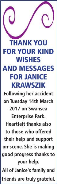 Thanks notice for JANICE KRAWSZIK