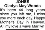 Mother's Day Memorial notice for JONES