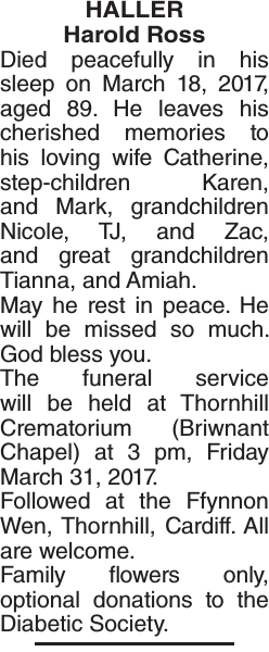 Obituary notice for HALLER Harold