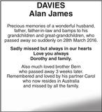 Memorial notice for DAVIES Alan