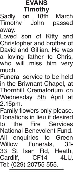 Obituary notice for EVANS