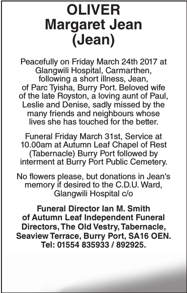 Obituary notice for OLIVER Margaret