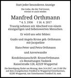 Manfred Orthmann : Traueranzeige