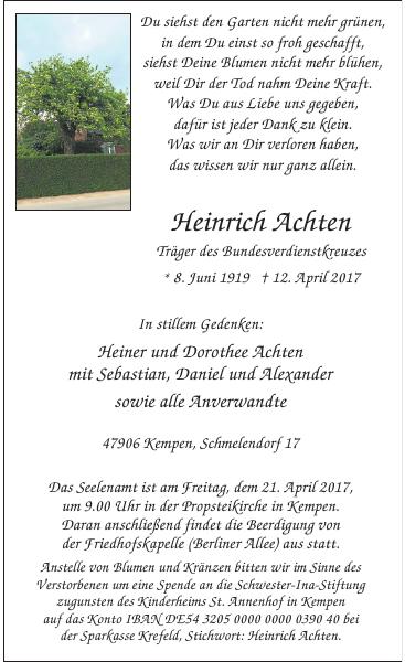 Heinrich Achten : Traueranzeige