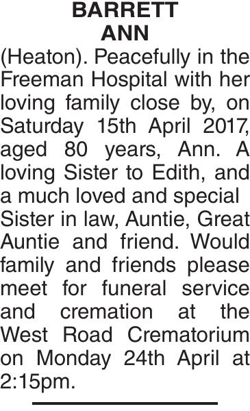 BARRETT ANN : Obituary