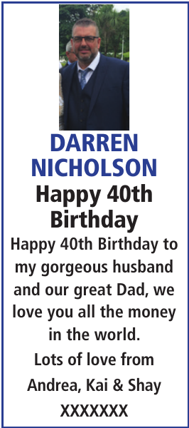 Birthday notice for DARREN NICHOLSON