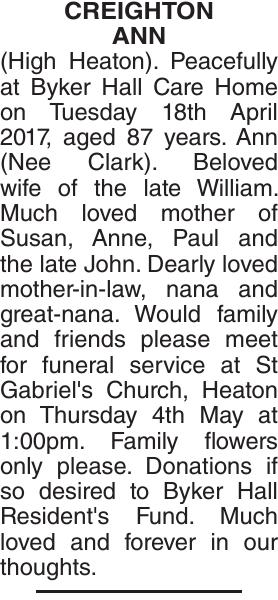 CREIGHTON ANN : Obituary