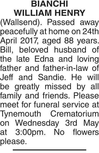BIANCHI WILLIAM : Obituary