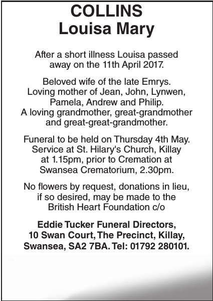 Obituary notice for COLLINS Louisa