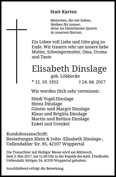 Elisabeth Dinslage : Traueranzeige