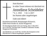 Anneliese Scheideler : Traueranzeige