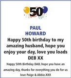 Birthday notice for PAUL HOWARD