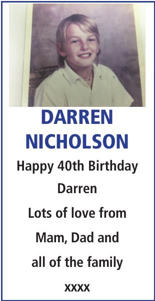 Birthday notice for DARREN